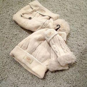 UGG cream hat gloves scarf set